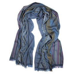 Scarf, pop circuit, maxi silk & cotton, blue and multicolor, made in Lyon France by sophie guyot silks