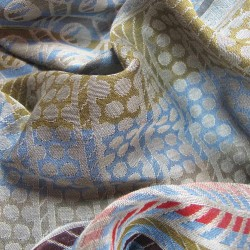 Woven scarf, pop circuit, maxi silk & cotton, blue and multicolor, made in Lyon France by sophie guyot silks