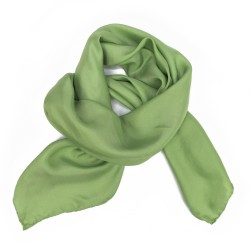 Square 90 plain soft green in silk twill, rolled finish by sophie guyot silks in Lyon in France