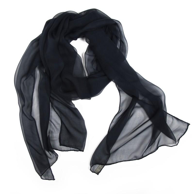 Scarf 180 plain ultra navy, silk chiffon, rolled finish by sophie guyot silks in lyon france