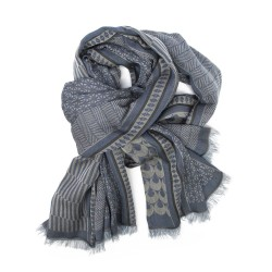Maxi scarf, macro micro, silk & cotton, blue & rope colors, made in Lyon France by sophie guyot silks