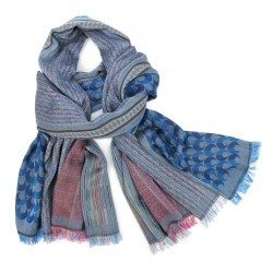 Maxi scarf, macro micro, silk & cotton, blue sky and multicolor, made in Lyon France by sophie guyot silks