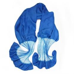 Étole plissenpli maxi bicolore 026 en twill de soie plissé et teint.