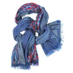 Écharpe macro micro maxi bleu multicolore