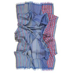 Maxi scarf, macro micro, silk & cotton, blue and multicolor, made in Lyon France by sophie guyot silks
