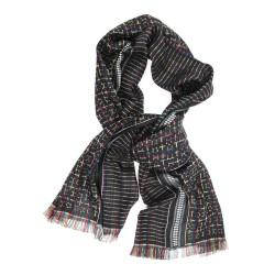 Écharpe lux midi noir & arc en ciel, spectre et jalousie tissage jacquard soie coton