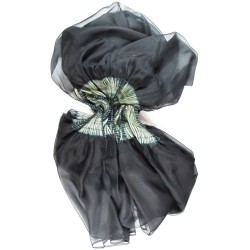 Cape stole paplibulle two-tone 001, pleated silk organza by sophie guyot silks made in Lyon France