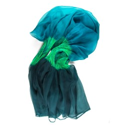 Cape stole paplibulle multicolored 004 in pleated silk organza by sophie guyot silks  made in lyon france