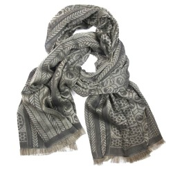 Woven scarf, pop circuit, maxi silk & cotton, grey and rope, made in Lyon France by sophie guyot silks