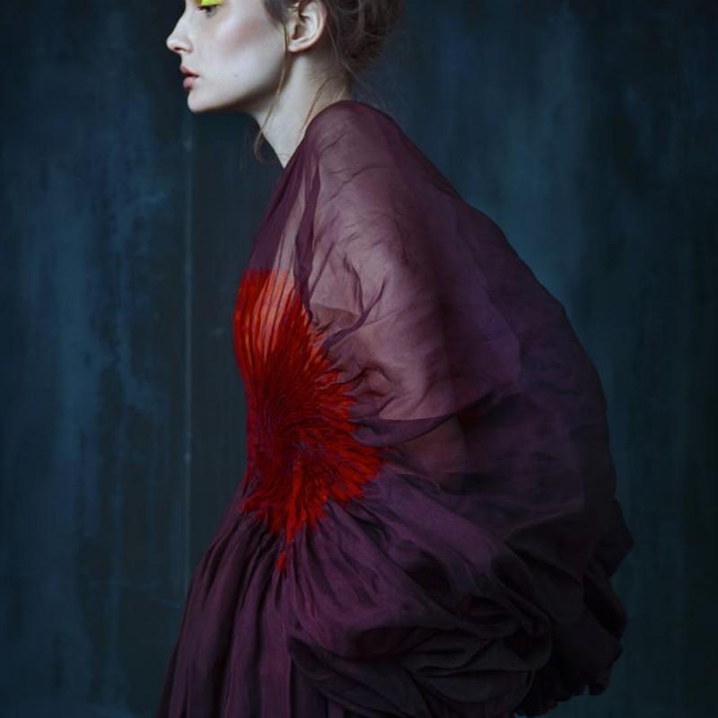 The claw fashion book, robe tutu multicolore en organza de soie