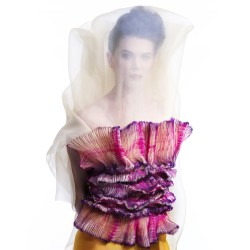 Bustier en organza de soie plissé multicolore