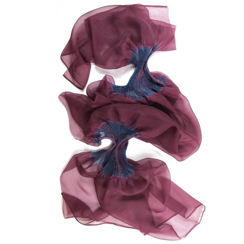 Étole juliette 038 multicolore en organza de soie plissé, teint et fabriqué à Lyon en France par Sophie Guyot Soieries