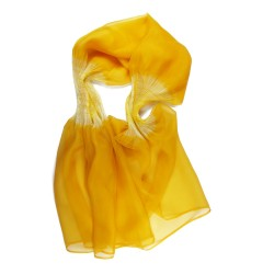 Stole Juliette two-tone 011 in pleated silk organza, dyed and made by sophie guyot silks in Lyon France