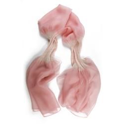 Étole juliette 023 bicolore en organza de soie plissé, teint et fabriqué à Lyon en France par Sophie Guyot Soieries