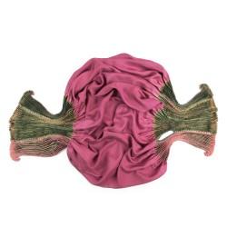 Foulard coulipli multicolore 016 en twill de soie plissage et teinture artisanale, fait à lyon en France par Sophie Guyot
