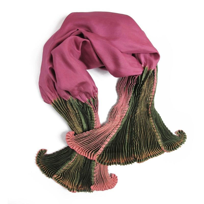 Coulipli 016 multicolored scarf, pleated silk twill by sophie guyot in Lyon France