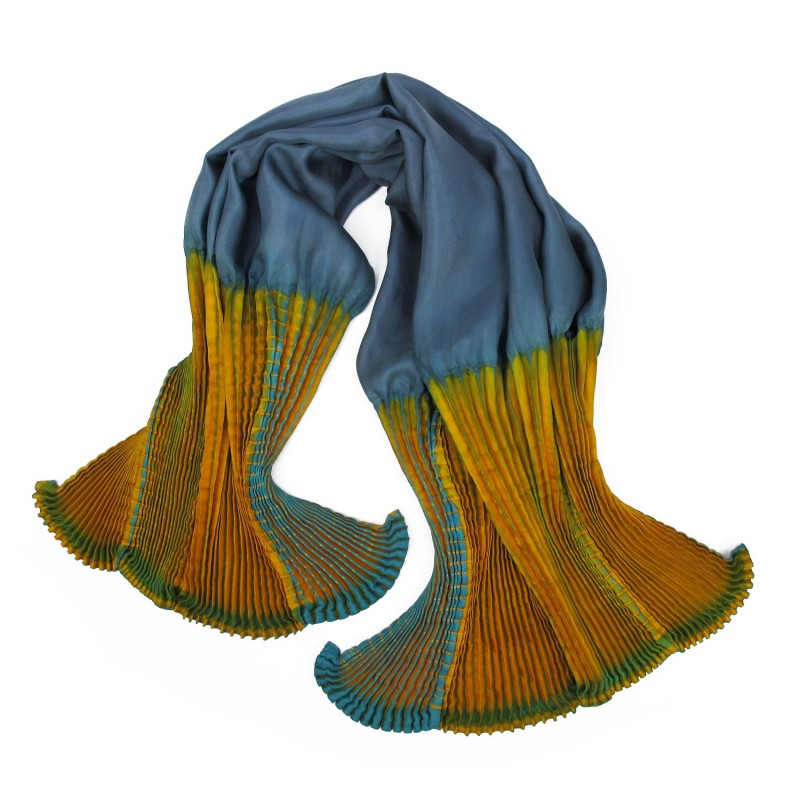 Coulipli 026 multicolored scarf, pleated silk twill by sophie guyot in Lyon France