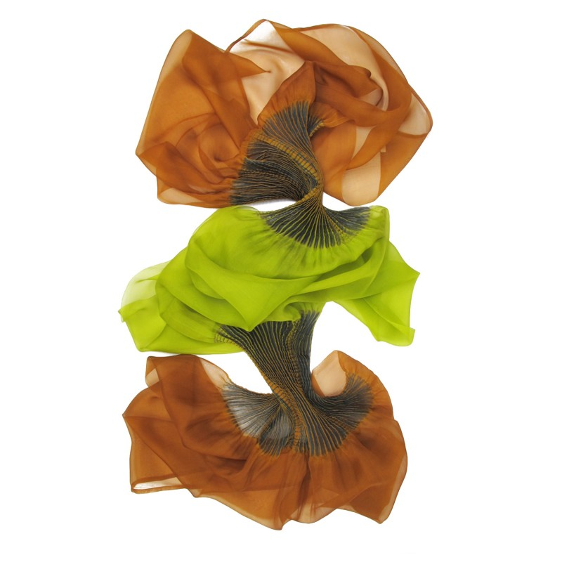 Stole Juliette Multicolored 041 in pleated silk organza, dyed and made by sophie guyot silks in Lyon France