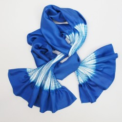 Scarf plissenpli midi 070, two tones in silk twill, pleated and dyed by sophie guyot soieries in Lyon, France