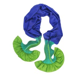 Écharpe plissenpli midi multicolore 074 twill de soie plissé et teint par sophie guyot soieries fabriqué à  Lyon, France