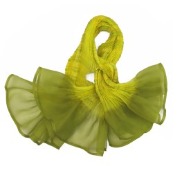 Short scarf paplillon multicolored 044 in pleated silk organza, dyed and made by sophie guyot silks in Lyon France