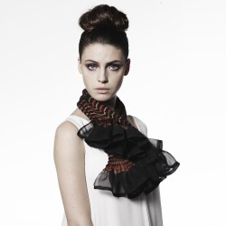 Short scarf paplillon multicolored in pleated silk organza, dyed and made by sophie guyot silks in Lyon France
