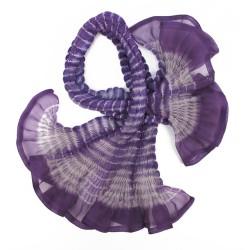 Écharpe courte paplillon bicolore 073 en organza de soie plissé, teint et fabriqué à Lyon en France par Sophie Guyot Soieries