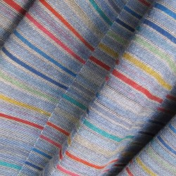 Scarf, macro micro, mini silk & cotton, blue sky and multicolor, pattern bricks, made in Lyon France by sophie guyot silks