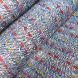 Scarf, macro micro, mini silk & cotton, blue sky and multicolor, tesserae pattern, made in Lyon France by sophie guyot silks