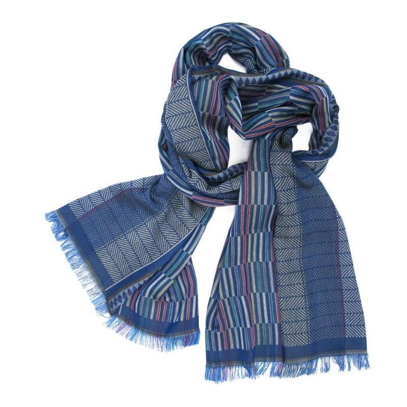 Woven scarf, macro micro, midi, silk & cotton, electric blue and multicolor, made in Lyon France by sophie guyot silks