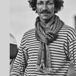 Woven scarf, midi, silk & cotton, made in Lyon France by sophie guyot silks, worn