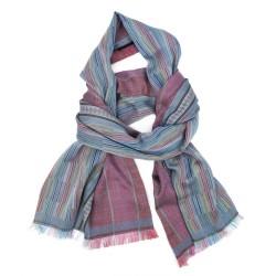 Écharpe double, tissage jacquard, en soie et coton, fabriqué à Lyon, France par sophie guyot soieries.