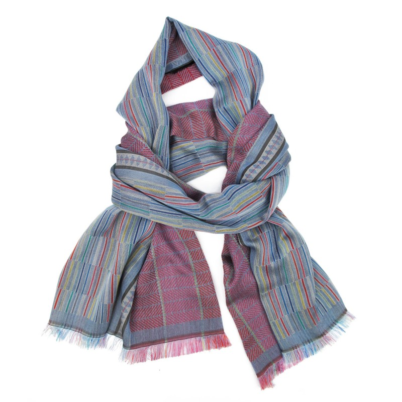 Woven scarf, macro micro, midi, silk & cotton, sky blue and multicolor, made in Lyon France by sophie guyot silks