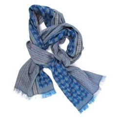 Écharpe tissée macro micro midi soie coton bleu ciel multicolore ocelles & tesselles