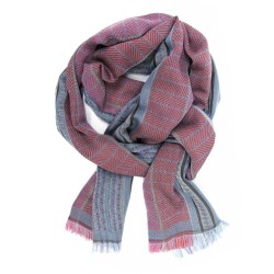 Écharpe double, tissage jacquard, en soie et coton, épis et tesselles, fabriqué à Lyon, France par sophie guyot soieries.