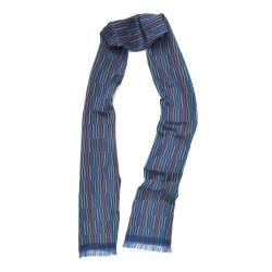 Écharpe tissée macro micro mini bleu multicolore briquettes fabriqué à lyon par sophie guyot soieries