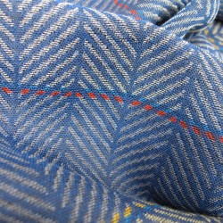 Scarf, macro micro, mini silk & cotton, electric blue and multicolor, ears pattern, made in Lyon France by sophie guyot silks