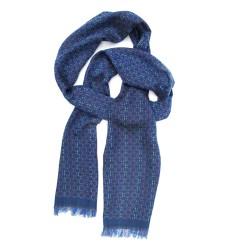 Écharpe étroite tissée macro micro mini bleu multicolore tesselles fabriqué à lyon sophie guyot soierie