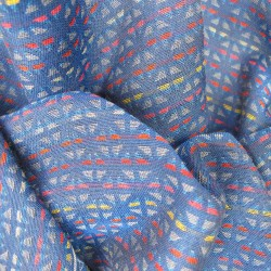Scarf, macro micro, mini silk & cotton, blue and multicolor, tesserae pattern, made in Lyon France by sophie guyot silks