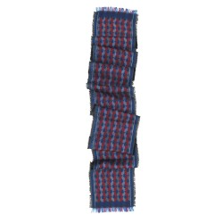 Scarf, macro micro, mini silk & cotton, electric blue and multicolor, made in Lyon France by sophie guyot silks