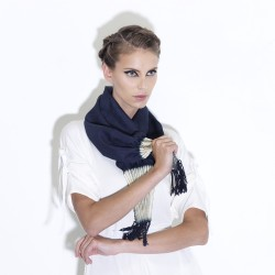Short pleated and fringed scarf in organic silk canvas, made in Lyon by sophie guyot soieries