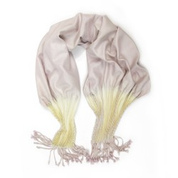 Scarf Plithaï two-tone in organic silk canvas pleated and dyed by sophie guyot silks in Lyon France