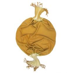 Écharpe courte plissée et frangée en toile de soie biologique, fabriquée à Lyon par sophie guyot soieries