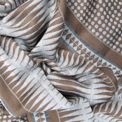 Double woven scarf in silk & wool, polka dots & diamond patterns, sand & brown colors by sophie guyot silks in Lyon