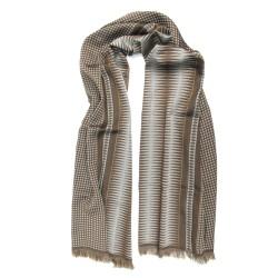 Double woven scarf in silk & wool, polka dots & diamond patterns, sand & brown colors by sophie guyot silks in Lyon