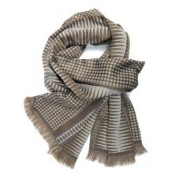 Écharpe tissée double en soie & laine, motifs pois & losange, coloris sable & marron par sophie guyot soieries à Lyon