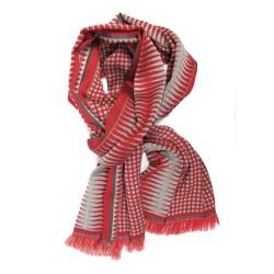 Écharpe tissée double en soie & laine, motifs pois & losange, coloris  écarlate & pavé par sophie guyot soieries à Lyon