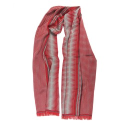 Double woven scarf in silk & wool, polka dots & diamond patterns, scarlet red and sand colors by sophie guyot silks in Lyon