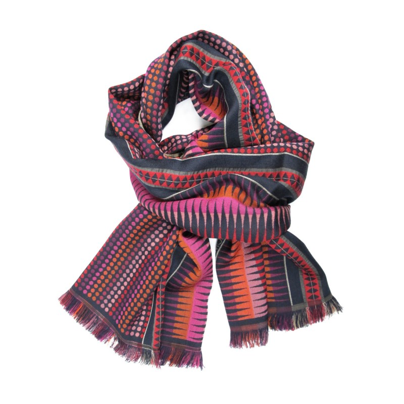 Double woven scarf in silk & wool, polka dots & diamond patterns, multico and navy colors by sophie guyot silks in Lyon