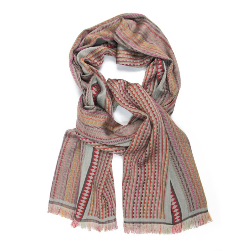Double woven scarf in silk & wool, polka chevrons & grid patterns, multico and sand colors by sophie guyot silks in Lyon
